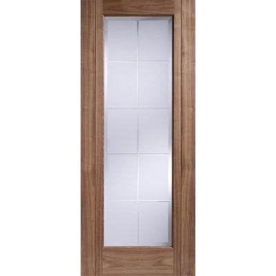 LPD Internal Walnut SEVILLE Pre-Finished Frosted Bevelled Glazed Door
