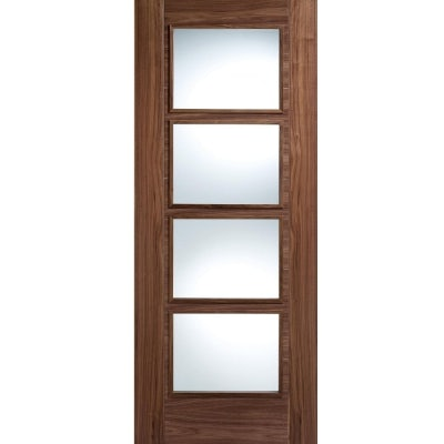 LPD Internal Walnut VANCOUVER Pre-Finished 4 Light Clear Glazed Door