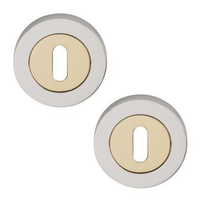 Excel Pair of Designer ORBIT Keyhole Door Escutcheons in Dual Finish