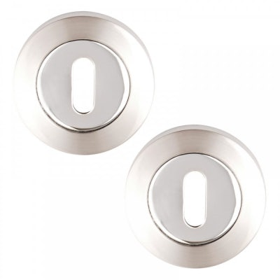 Excel Pair of Designer ULTIMO / CHRONOS / ARGO Dual Chrome Keyhole Door Escutcheons