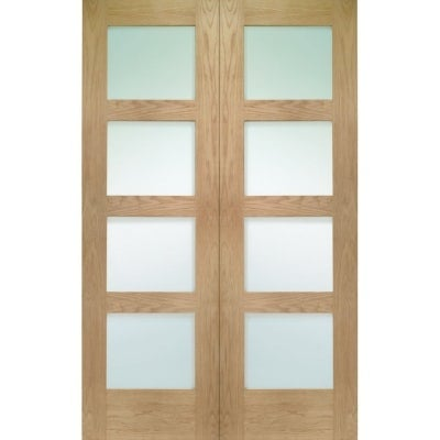 XL Joinery Internal Oak Shaker Clear Glazed Rebated Door Pair