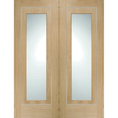 XL Joinery Internal Oak Varese Pre-Finished Clear Glazed Door Pair