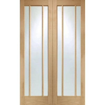 XL Joinery Internal Oak Worcester Clear Glazed Rebated Door Pair