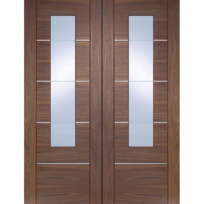 XL Joinery Internal Walnut Portici Pre-Finished Clear Etched Glazed Door Pair