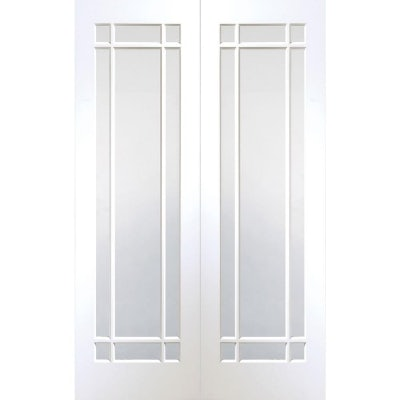 XL Joinery Internal White Primed Cheshire Clear Glazed Door Pair