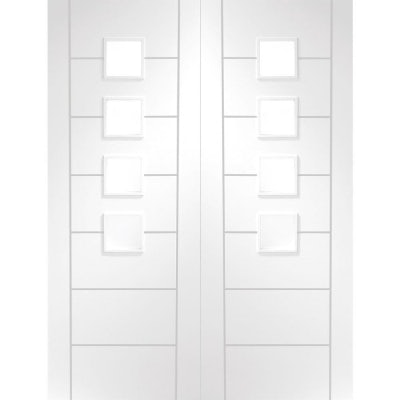 XL Joinery Internal White Primed Palermo Obscured Glazed Door Pair