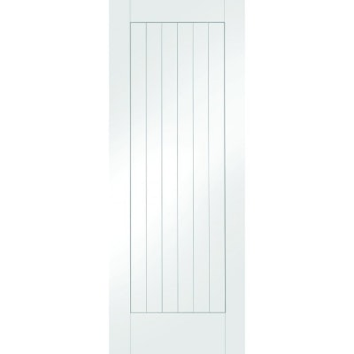 XL Joinery Internal White Primed Suffolk Vertical Panel Flush Cottage Door - Fire Door FD30